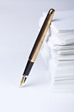 Golden pen Stock Photo
