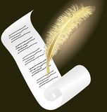 Golden pen and paper. On a dark background a roll of paper and an glowing golden pen Stock Images