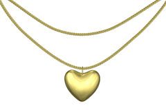Golden pendant heart Stock Photography