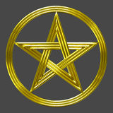 Golden pentacle isolated star coin symbol. A pentacle with powerful light halo. A symbol of the element of earth. A coin (money, fortune) sign in tarot packs Stock Image