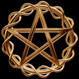 Golden pentagram. Illustration of an ornate gold pentagram on a black background Royalty Free Stock Photos