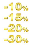 Golden percent. On the isolated white background Royalty Free Stock Photography