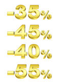 Golden percent. On the isolated white background Stock Photos