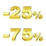 Golden percent. On the isolated white background Royalty Free Stock Photo