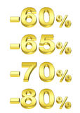 Golden percent. On the isolated white background Vector Illustration