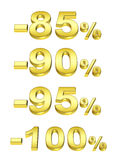 Golden percent. On the isolated white background Stock Photo