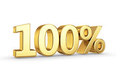 Golden 100 percent  isolated. Golden 3D percentage icon - isolated with clipping path Royalty Free Stock Photos