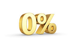 Golden 0 percent isolated. Golden 3D zero  percentage icon - isolated with clipping path Royalty Free Stock Photo