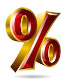 Golden percent sign in 3D style isolated on white background. Ve. Ctor illustration. Ideal for ad, tv commercial, banner, label and any kind of decoration Royalty Free Stock Photo
