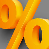 Golden percent sign on gray background Royalty Free Stock Image