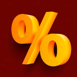 Golden percent sign on red background Royalty Free Stock Image
