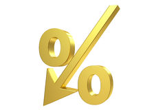 Golden percent sign Royalty Free Stock Images