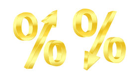 Golden percent symbols. Vector illustration. Growing and dropping golden percent symbols. Vector illustration Stock Image
