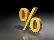 Golden Percentage Stock Image