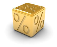 Golden Percentage Dice Royalty Free Stock Photography