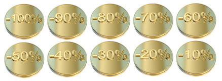 Golden percentage icons Stock Photos