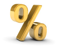 Golden percentage sign. On a white background. Part of a series Stock Image