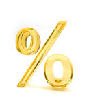 Percent sign isolated yellow. 3d illustration of yellow or golden percentage sign isolated on white background Royalty Free Stock Photos