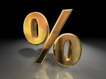 Golden Percentage Symbol. A 3D illustrated percentage symbol in golden color Royalty Free Stock Photo