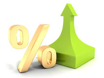 Golden percentage symbol with green arrow up Stock Images