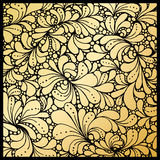 Golden petals or floral leafs ornament, paisley wallpaper Stock Photo