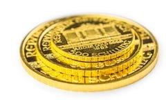 Golden phillharmonikers. Pyramide of golden phillharmoniker coins stock images