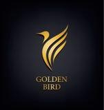 Golden Phoenix, bird brand, animal logo,luxury  identity for hotel fashion and sports  concept. Stock Image