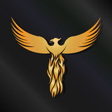 Gold Phoenix Logo. Concept of perseverance,comeback,winning Royalty Free Stock Image