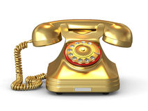 Golden phone. On white isolated background. 3d Royalty Free Stock Images