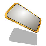 Golden phone isolated on white background Stock Photo