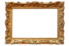 Golden photo frame. Isolated on white Stock Images