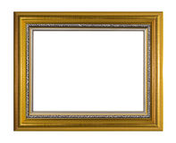 Golden photo frame,. Beautiful photo frame on a white background Stock Images