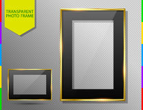 Golden photo frame with black mount, transparent glass and shadow Stock Images
