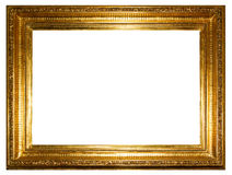 Golden photo frame (clipping path) isolated on white background Stock Images