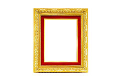 Golden photo frame on isolated background Royalty Free Stock Images