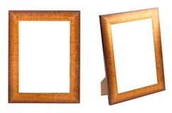 Golden photo frame isolated. On white background Royalty Free Stock Photography