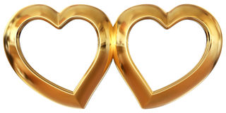 Golden photo frames. In the form of hearts Royalty Free Stock Photography