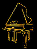 Golden piano. A golden piano stylized sketch over black Stock Image