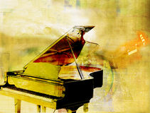 Golden piano. Beautiful golden piano as digital background Stock Photography