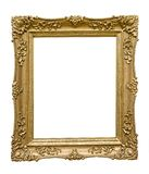 Golden picture frame. Golden wooden empty picture frame isolated on white royalty free stock photos