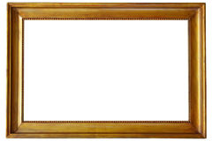Golden picture frame. Isolated on white Stock Photography