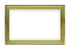 Golden picture frame. Isolated on white with clipping paths. Empty space for design / text royalty free illustration