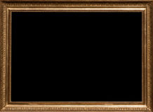 Golden Picture Frame. Antique golden picture frame with artistic ornamentation and a black box where your can put the title of a photo or painting Royalty Free Stock Images