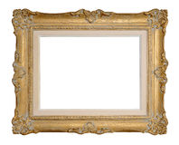 Golden Picture Frame. Antique golden picture frame with a mat, isolated on white, with a clipping path royalty free stock photos