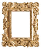 Golden picture frame baroque style. Vintage art object. Golden picture frame. Vintage baroque style object stock images