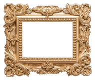 Golden picture frame baroque style. Vintage art object Royalty Free Stock Images