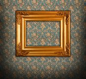 Golden picture frame baroque style stock photos
