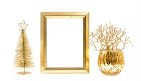 Golden picture frame Christmas decoration. Golden picture frame and Christmas decoration royalty free stock photos