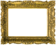 Golden picture frame cutout Stock Image
