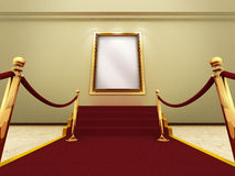 Golden picture frame in a Grand Gallery. Red carpet leading up to the stairs to a golden picture frame on a wall. (A clipping path for the white content area is royalty free illustration